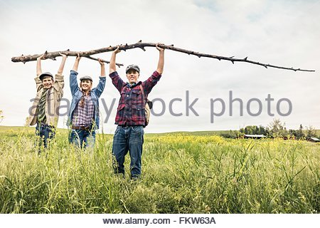 Young adults and teen boy in tall grass holding up branch looking at camera smiling - Stock Photo