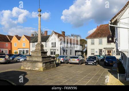 The historic Market Place, Lavenham, Suffolk, England, United Kingdom. - Stock Photo
