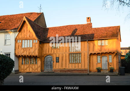 The 14th Century Little Hall at Lavenham, Suffolk, England, United Kingdom. - Stock Photo