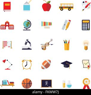 Set of 25 education, school, college and university related flat design icons on white background - Stock Photo
