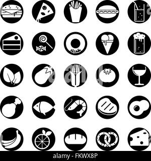 Collection of 25 solid food and drink vector icons in circles - Stock Photo