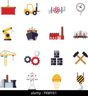 Collection of 16 flat design industry themed vector icons - Stock Photo