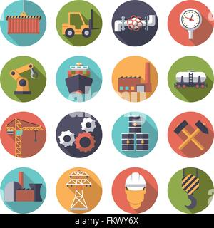 Collection of 16 flat design industry themed icons in circles - Stock Photo