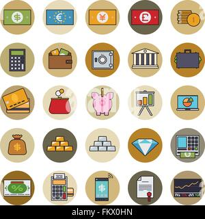 Collection of money, finance and banking related line icons with color fill in circles - Stock Photo