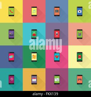 collection of mobile applications on smart phones flat design icons - Stock Photo