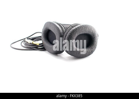 Beautiful leather black headphones isolated on white background. - Stock Photo