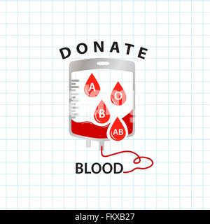 Donate blood  concept with bag blood and drop blood type - Stock Photo