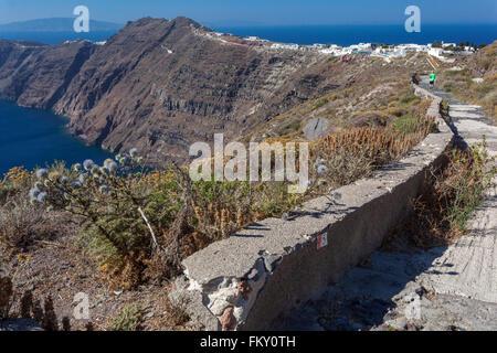 The path from Imerovigli to Oia, Santorini, Greek Islands, Cyclades, Greece - Stock Photo