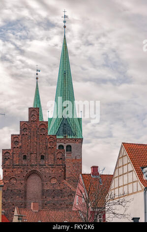 The church of Saint Olaf in the old town of Helsingor in Denmark. - Stock Photo