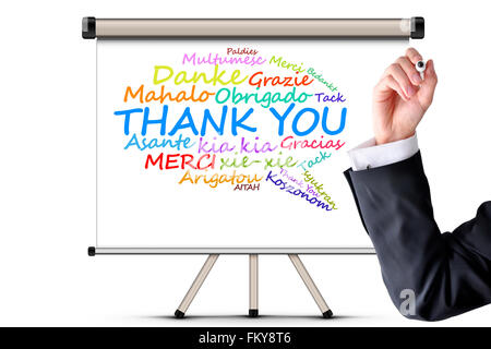 Thank you message in different languages - Stock Photo