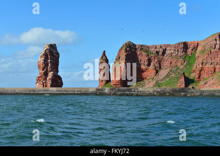 Rocky northern tip with Lange Anna rock formation, Heligoland, Schleswig-Holstein, Germany - Stock Photo