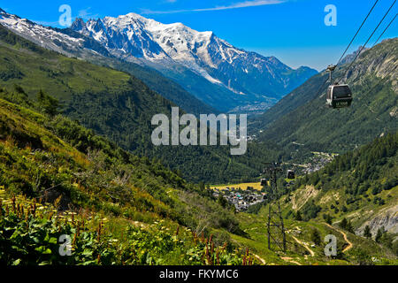 View from Charamillon in the Chamonix valley at Le Tour, behind the Mont Blanc summit, Chamonix, Savoy, France - Stock Photo