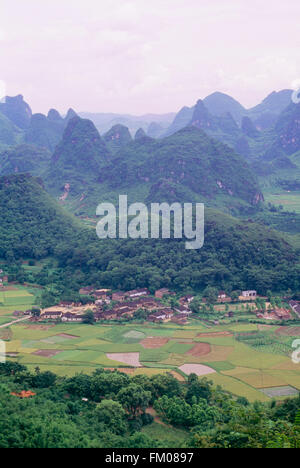 Aerial View of Rice Fields and Mountains, Yangshuo, Guangxi, China - Stock Photo