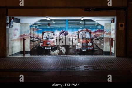 Graffiti On Garage Spray Paint Art Mural Stock Photo