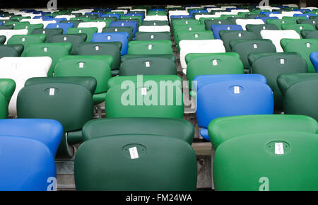 Rows of empty stand seats at The National Football Stadium, Windsor Park , Belfast, Northern Ireland. Editoral use - Stock Photo