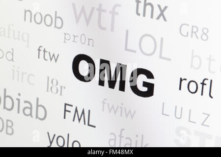 Word cloud of commonly used internet slang highlighting OMG - USA - Stock Photo