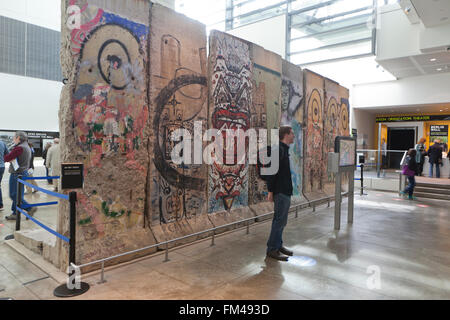 Sections of the Berlin Wall on display at the Newseum - Washington, DC USA - Stock Photo