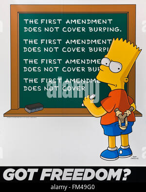 Bart Simpson First Amendment poster at the Newseum - Washington, DC USA - Stock Photo