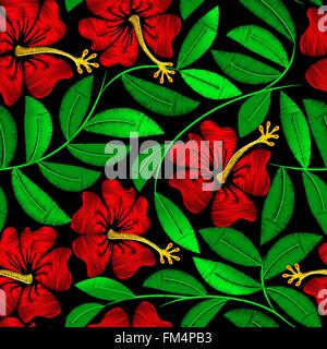Tropical embroidery hibiscus plant in a seamless pattern . - Stock Photo