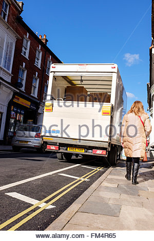 Large delivery van parked on double yellow lines, Blandford, Dorset, England UK - Stock Photo