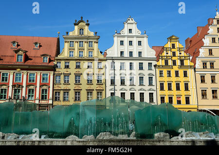 Facades of colorful buildings on the old square in Wroclaw, Poland - Stock Photo