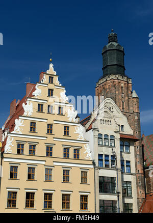 Facades of colourful buildings on the old square in Wroclaw, Poland - Stock Photo