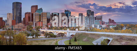 The skyline of downtown Calgary, Alberta, Canada, photographed at sunset. - Stock Photo