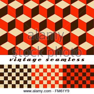 A set of simple cubic and check-board seamless tiles, coordinated patterns, in an optical illusion style red palette. - Stock Photo