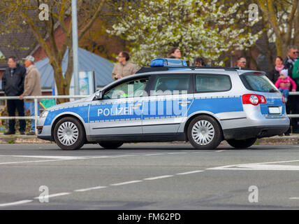 german police patrol car on the street - Stock Photo