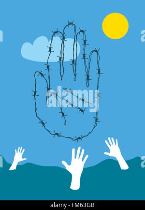 Barbed wire hand stopping drowning refugees - Stock Photo