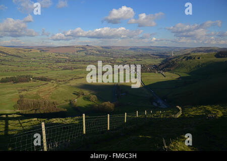View of Hope Valley looking towards Castleton in the Peak District of Derbyshire, England. - Stock Photo