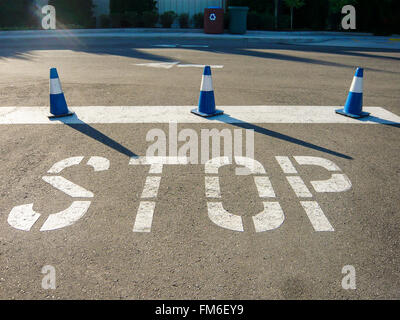 Stop sign on a road with three traffic cones. - Stock Photo