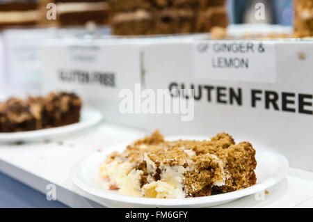 Gluten free cakes on sale in an up-market cafe. - Stock Photo