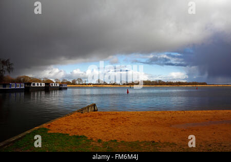 A stormy sky over Hickling Broad on the Norfolk Broads, East Anglia, England, United Kingdom. - Stock Photo