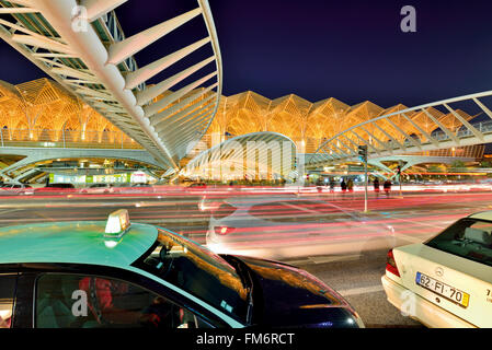 Portugal, Lisbon: Nocturnal movement at the station Garé do Oriente - Stock Photo