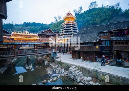 China, Guizhou, Zhaoxing, little capital of the Dong - Stock Photo