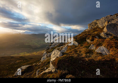Winter view from Nephin to the Nephin Beg Mountains, County Mayo, Ireland. - Stock Photo
