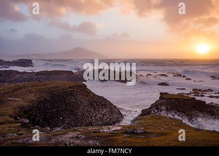 Stormy evening on the coast of Achill Island, County Mayo, Ireland. - Stock Photo
