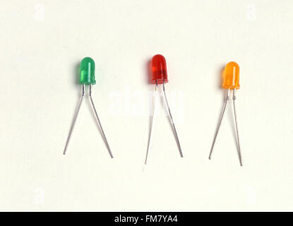 Light-emitting diodes (LED) in green, red, yellow - Stock Photo