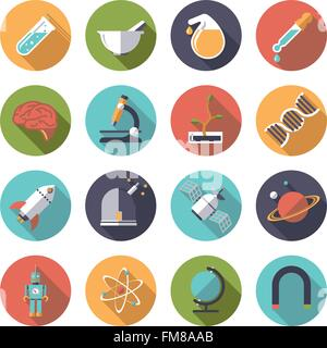 Collection of 16 flat design science and research themed icons in circles - Stock Photo