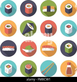 Set of 16 sushi related icons in circles, flat design, long shadow - Stock Photo