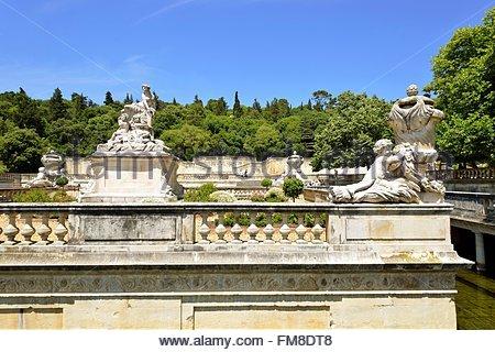 Gardens of the fountain jardins de la fontaine nimes france stock photo royalty free image - Jardin japonais monaco nimes ...