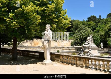 France, Gard, Nimes, Jardins de la Fontaine, Central platform or ...