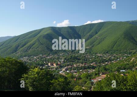 View over Shaki and surrounding mountains, Azerbaijan - Stock Photo