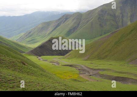 High Caucasus, landscape near Xinaliq, Azerbaijan - Stock Photo