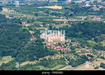 France, Lot, Prudhomat, Castelnau Bretenoux castle (aerial view) - Stock Photo