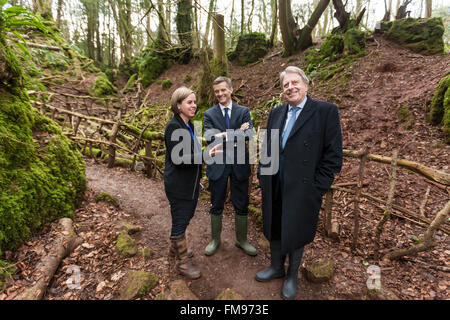 Coleford, Gloucestershire, UK. 11th March, 2016. Acting Minister for Heritage, Tourism & Sport David Evennett and - Stock Photo