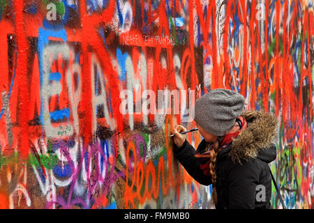 The 'John Lennon wall', Mala Strana ('little quarter'), Prague, Czech Republic. - Stock Photo