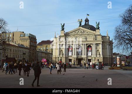 Lviv, Ukraine - January 30, 2016: Lviv cityscape. View of The Lviv Theatre of Opera and Ballet - Stock Photo