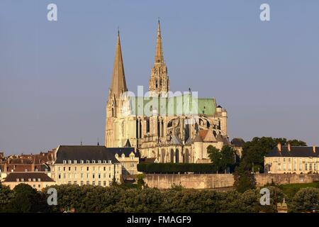 France, Eure et Loir, Chartres, Notre Dame Cathedral of Chartres listed as Wolrd Heritage by UNESCO - Stock Photo
